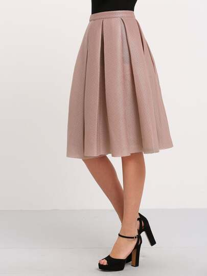 Hollow Out Mesh Overlay Swing Skirt