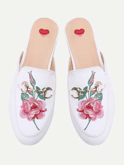 White Flower Embroidery Loafer Mules