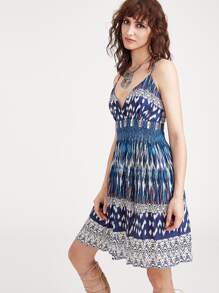 Abstract Print Surplice Front Smocked Waist Cami Dress