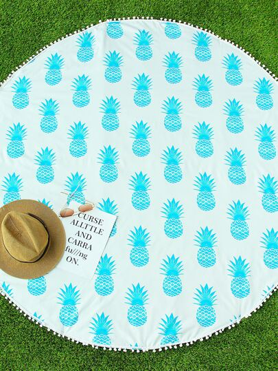 Manta playera redonda con estampado de piña ribete con pompones - azul