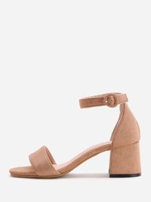 Sandalias de tacón de bloqueo - marrón