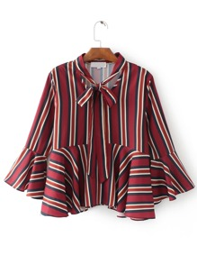 Bell Sleeve Mixed Stripe Tie Neck Blouse