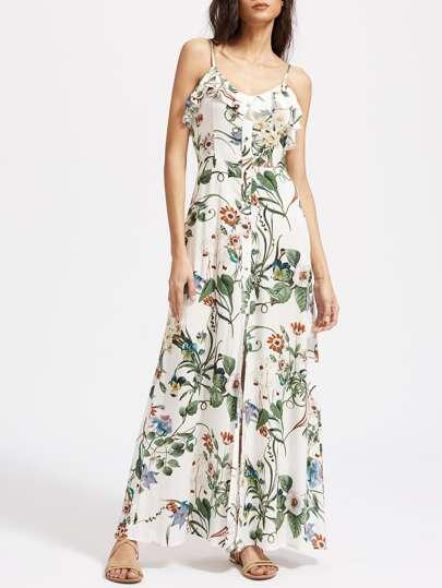 Botanical Print Button Front Frill Cami Dress
