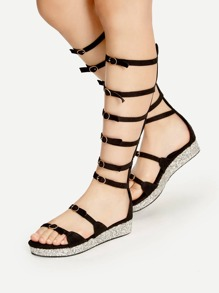 Black Buckle Strap Gladiator Sandals