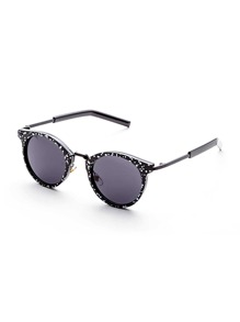 Black Sunglasses With Polka Dot Detail