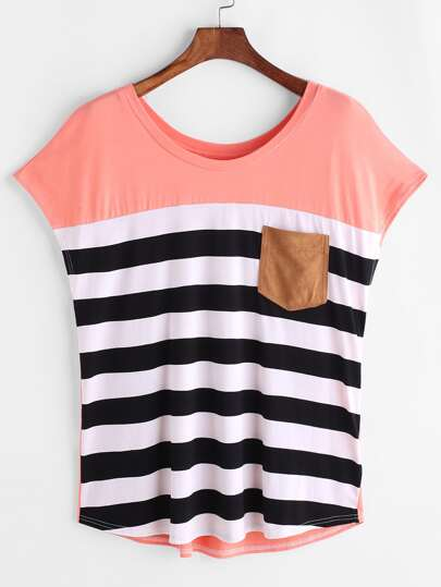 Striped Pocket Front Cap Sleeve Tee