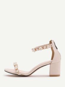 Sandalias de tacón de bloqueo con perla de imitación - albaricoque