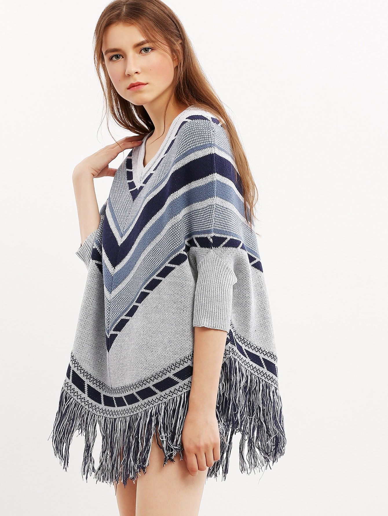 Фото Grey Three Quarter Sleeve Tassel Hem Sweater. Купить с доставкой