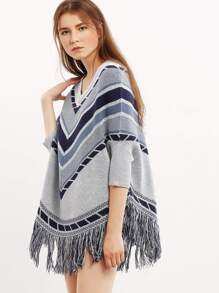 Gris Three Quarter Sleeve Tassel Hem Sweater