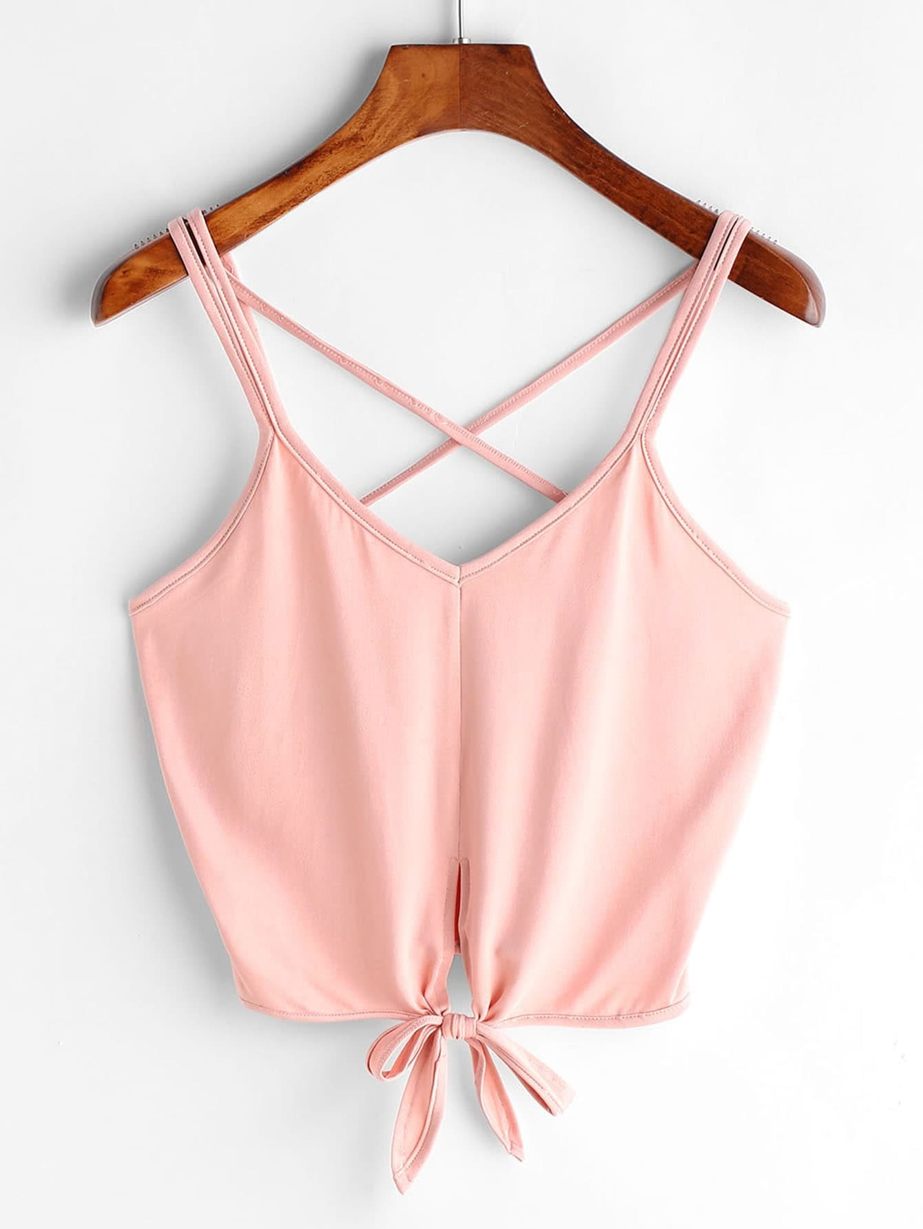Criss Cross Back Knotted Hem Crop Cami Top criss cross backless cami crop lace top