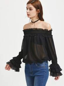 Shirred Off The Shoulder Layered Cuff Semi Sheer Top