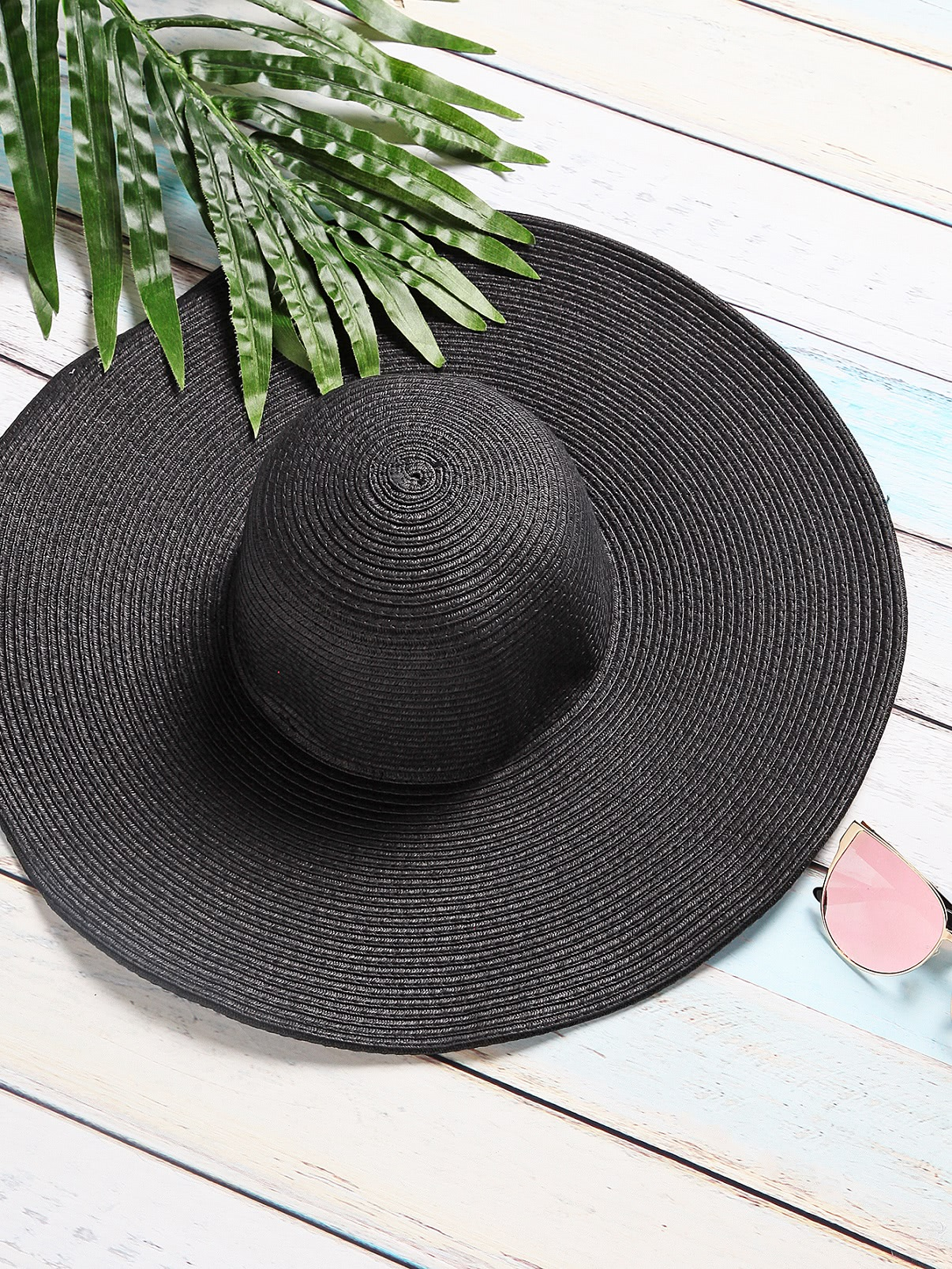 Image of Black Vacation Wide Brim Straw Hat