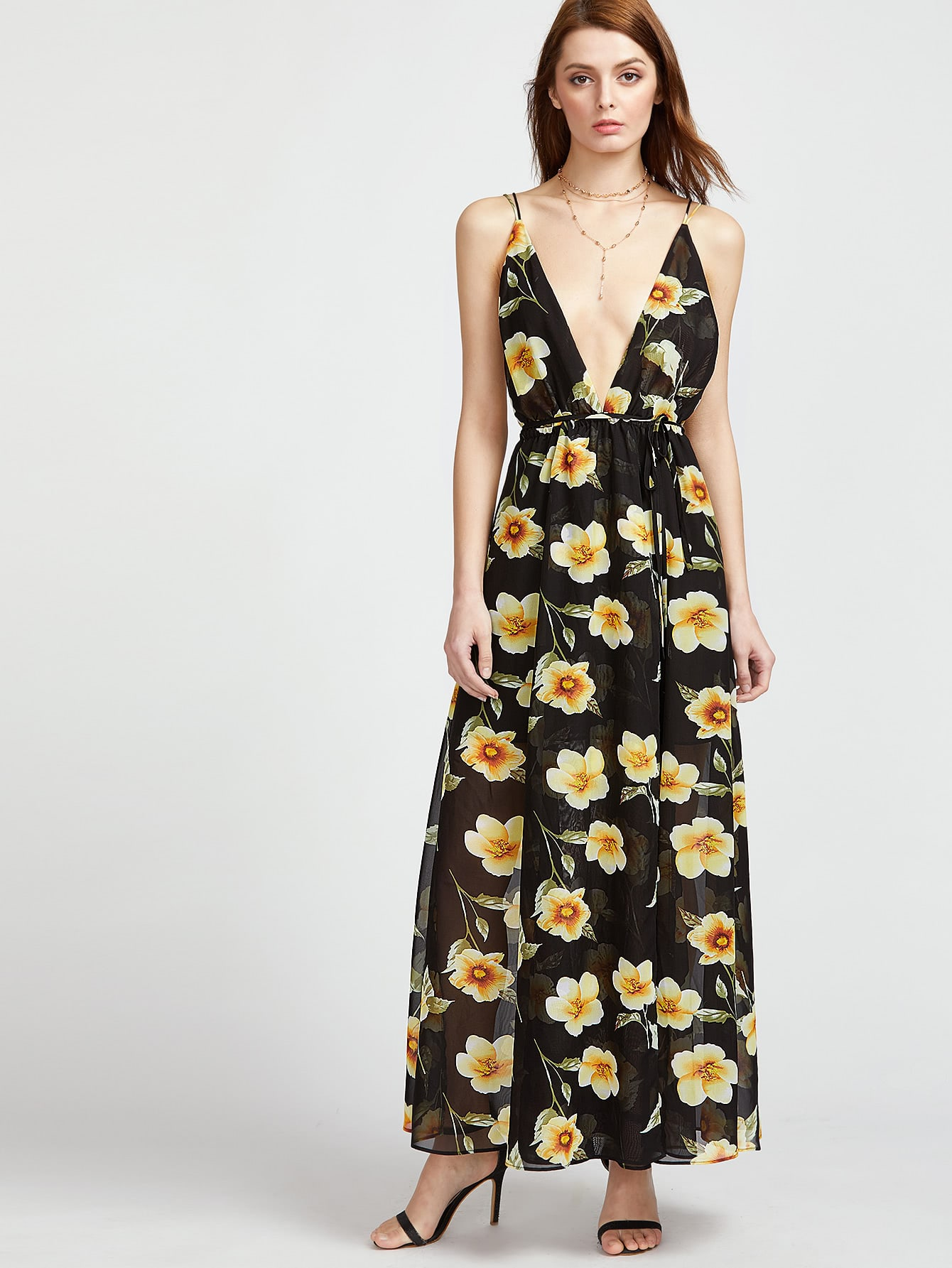 Фото Plunging V-Neckline Floral Print Caged Back Dress. Купить с доставкой