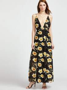Plunging V-Neckline Floral Print Caged Back Dress
