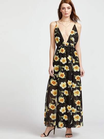 Vestido cruzado con estampado de flor con cuello en V profundo - negro