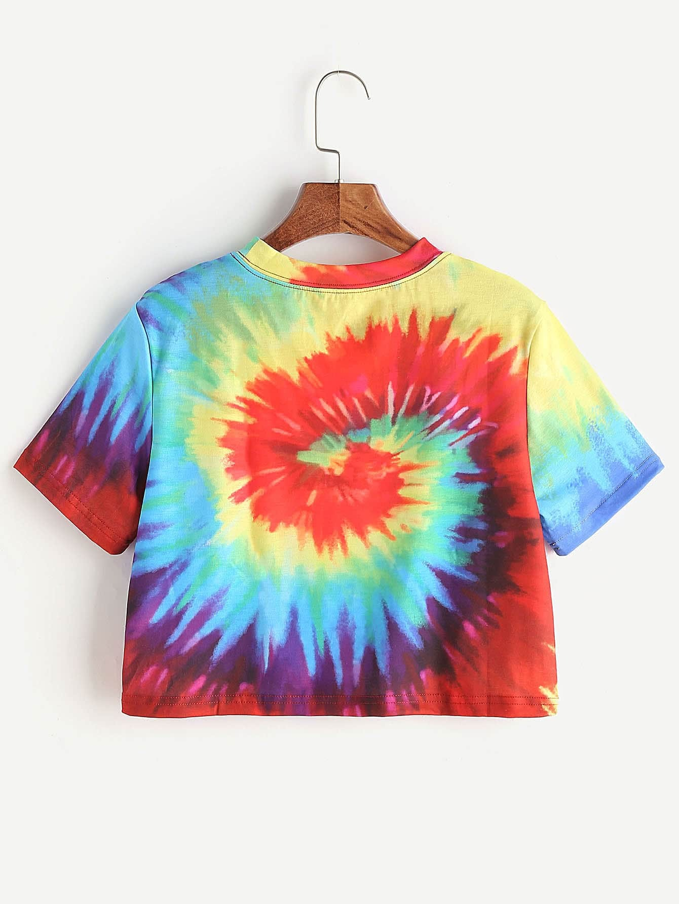 Spiral tie dye print crop t shirt shein sheinside for Tie dye printed shirts