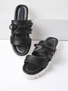 Noir Contraste Sole Slip On Sandales Avec Bow