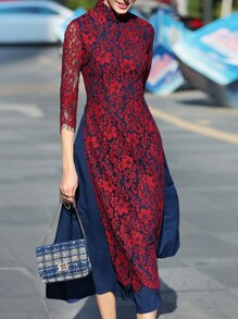 Red Collar Split Lace Long Dress