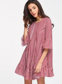 Red Checkered Double Godet Front Ruffle Dress
