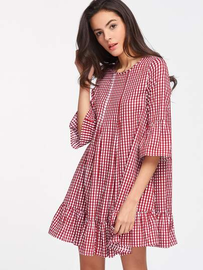 Checkered Double Godet Front Drop Hem Dress