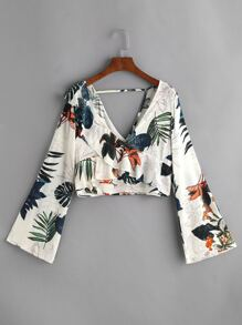 Plunging V Neckline Palm Leaf Frill Trim Crop Top