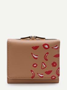 Khaki Lip Print Kiss Lock PU Wallet