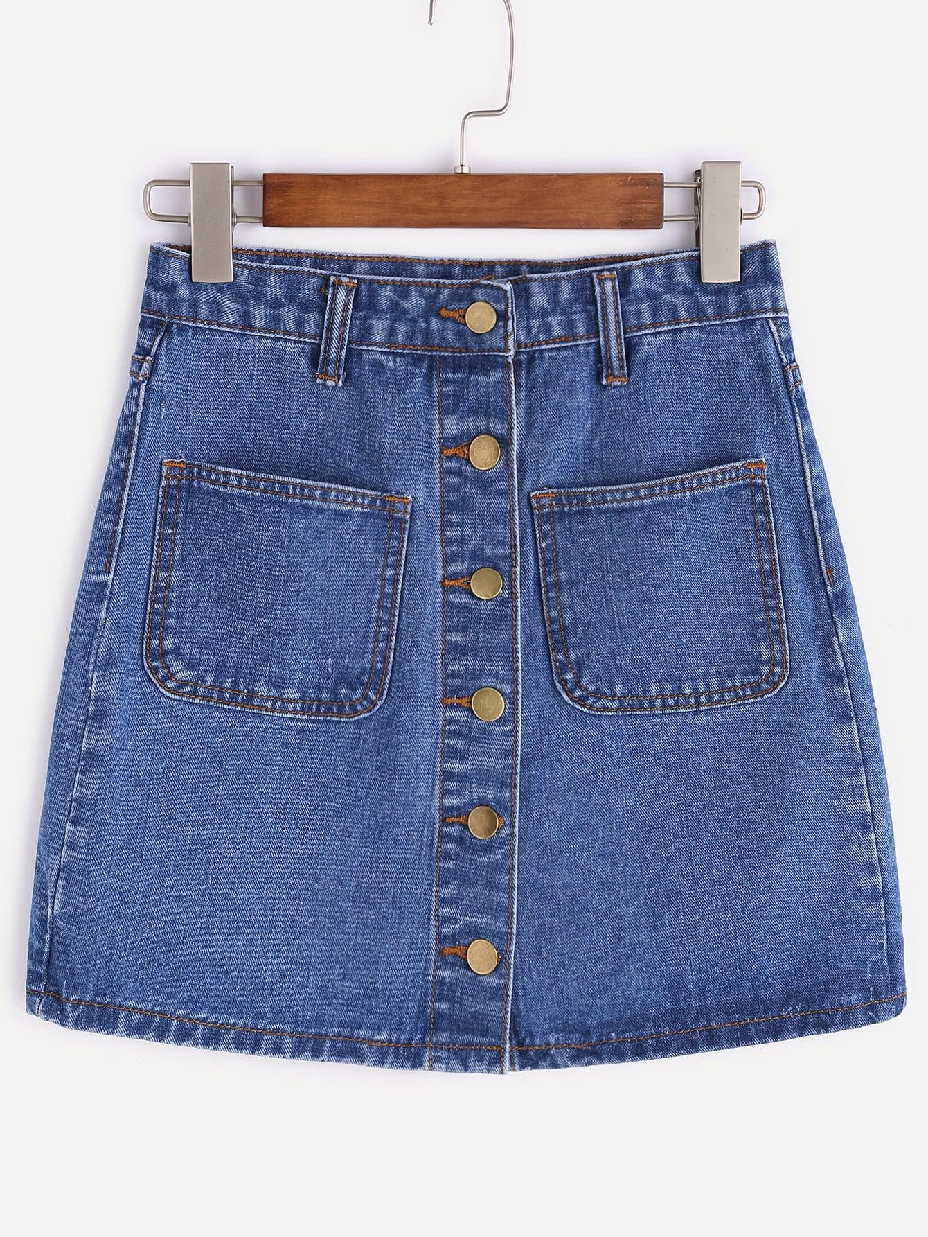 Single Breasted Dual Pockets Denim Skirt vintage single breasted solid color furcal denim suspender skirt