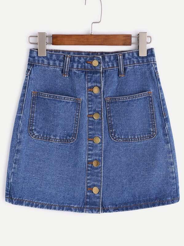 Single Breasted Dual Pockets Denim Skirt, null
