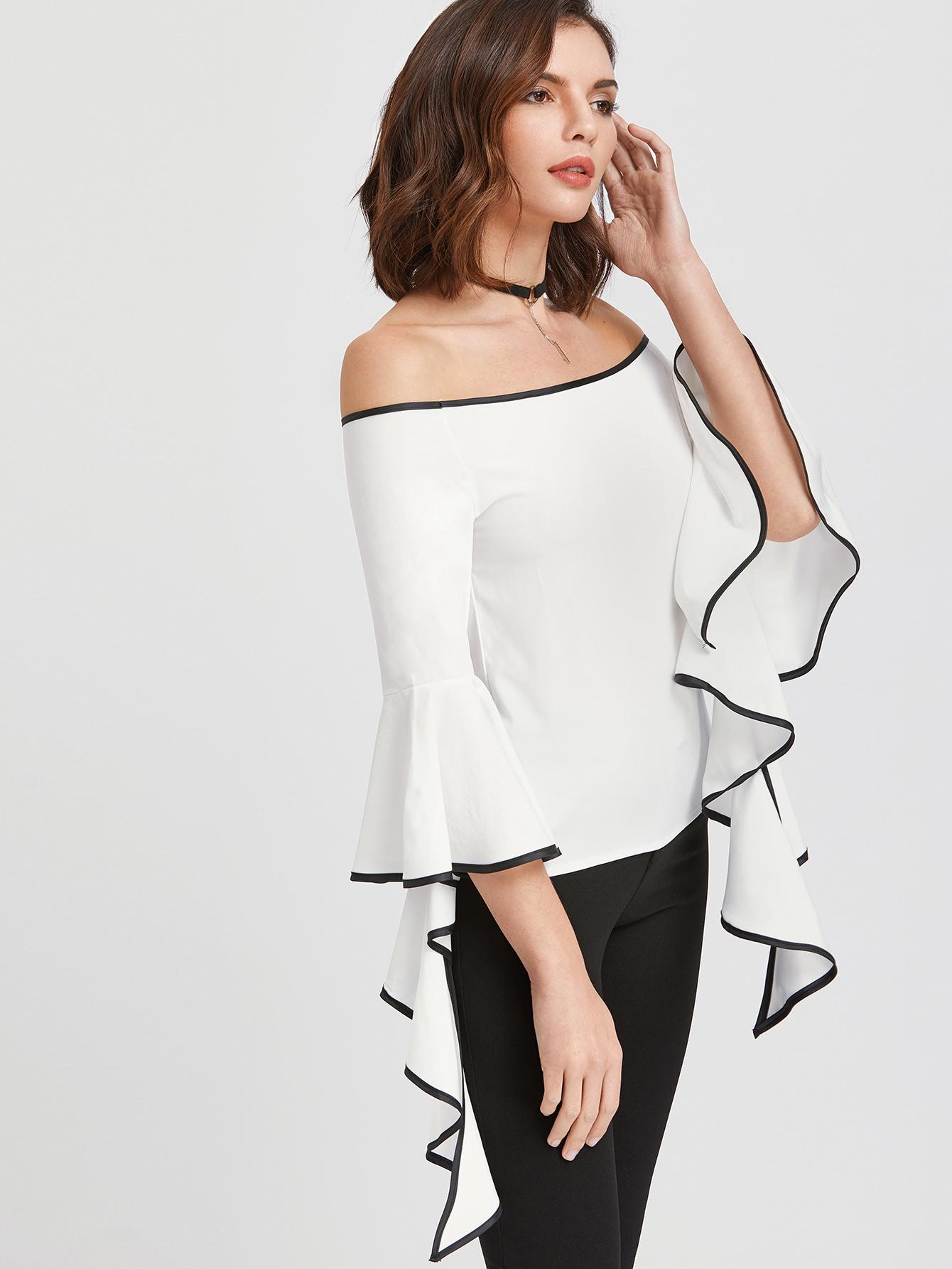 Фото Contrast Trim Flared Sleeve Bardot Top. Купить с доставкой