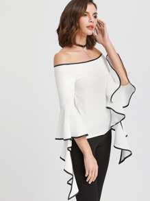 Contrast Trim Flared Sleeve Bardot Top