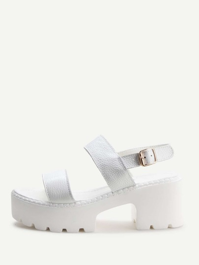 White Strappy Platform PU Sandals