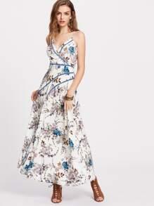 Lace Insert Crisscross Back Floral Surplice Cami Dress