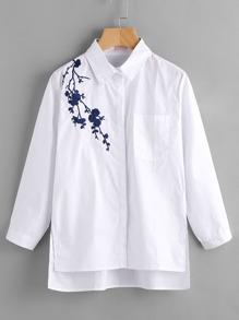 Модная блуза в полоску с цветочной вышивкой