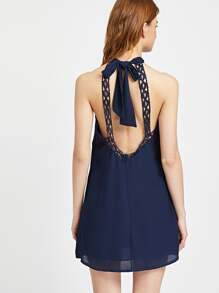 Crochet Lace Open Back Bow Tie Halter Dress