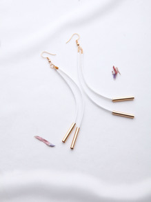 White And Gold Bar Pendant Earrings