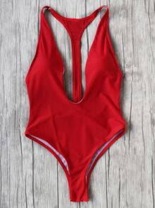 Red Plunge Neck One-Piece Swimwear