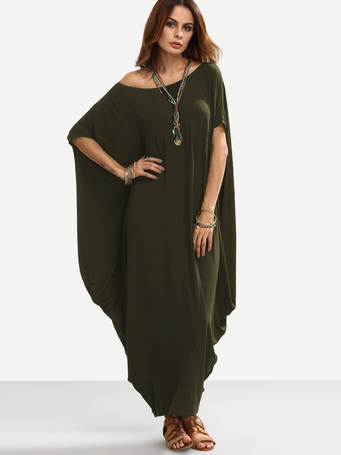 Фото Asymmetric Shoulder Dolman Sleeve Draped Cocoon Dress. Купить с доставкой