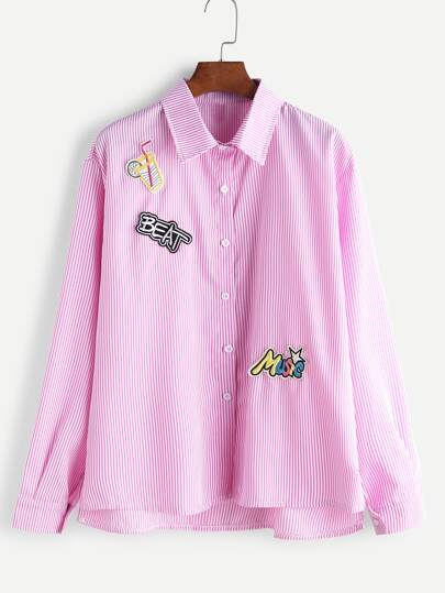Pink Vertical Striped Embroidered Patches High Low Shirt