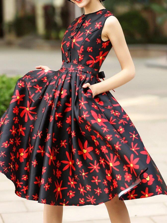 Фото Red Crew Neck Print A-Line Dress. Купить с доставкой