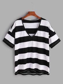 Black And White Striped V Neck Drop Shoulder T-shirt