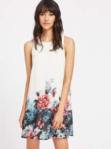 Flower Print Buttoned Keyhole Back Tank Dress