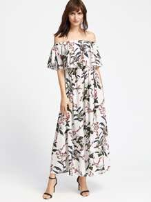 Botanical Print Frill Bardot Neckline Dress
