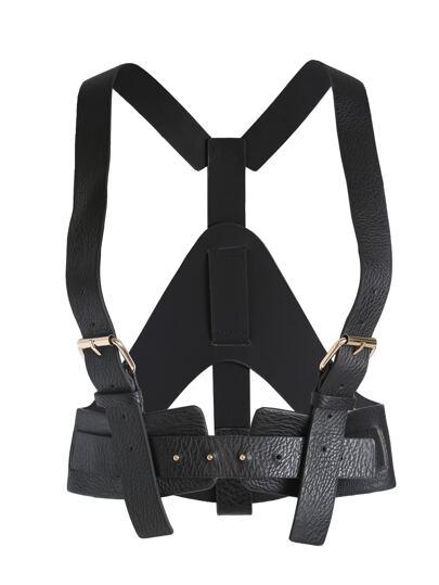 Black Buckle Faux Leather Corset Belt