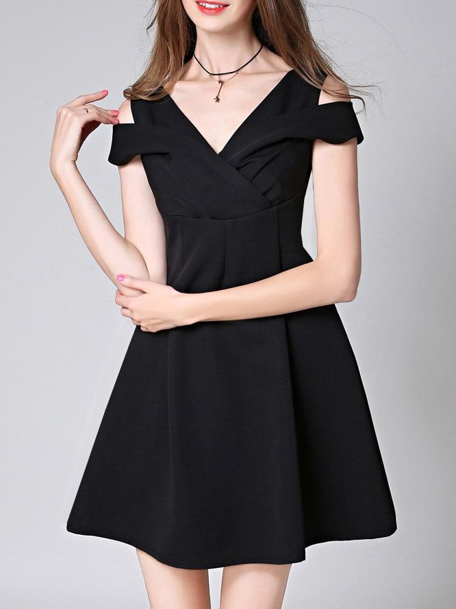 Фото Black V Neck Open Shoulder A-Line Dress. Купить с доставкой