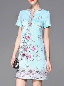 Blue V Neck Flowers Embroidered Sheath Dress