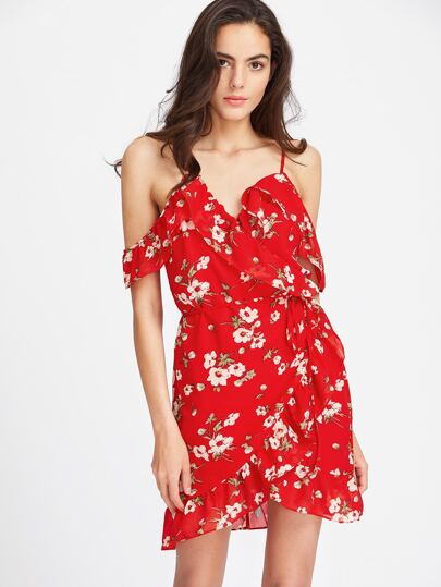 Robe épaules dénudées découpée imprimée fleuri avec des plis