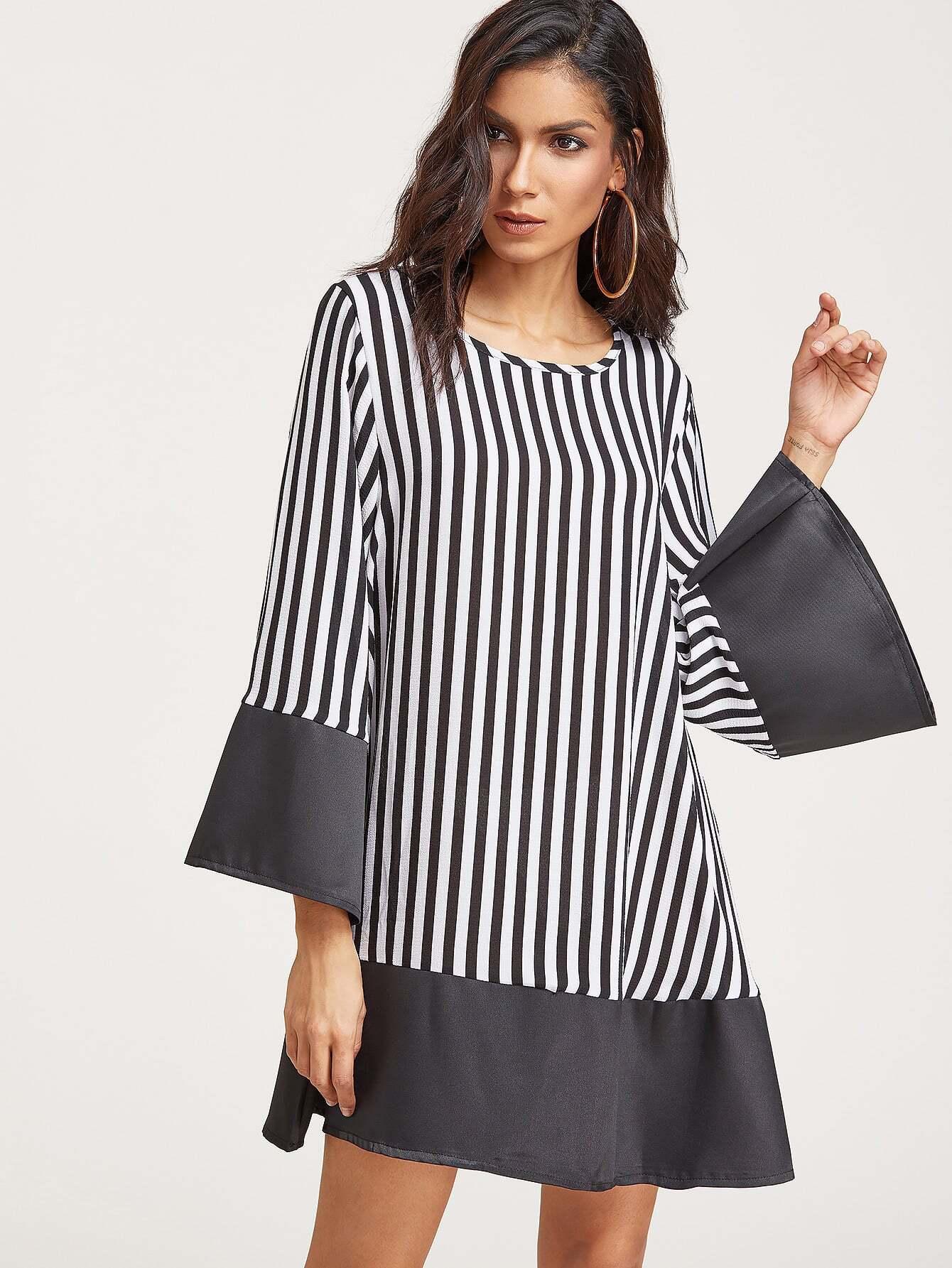 Vertical Striped Bell Sleeve Contrast Hem Dress
