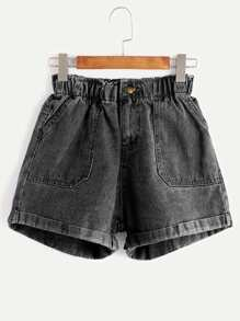 Elastische Taille Shorts in Denim - schwarz
