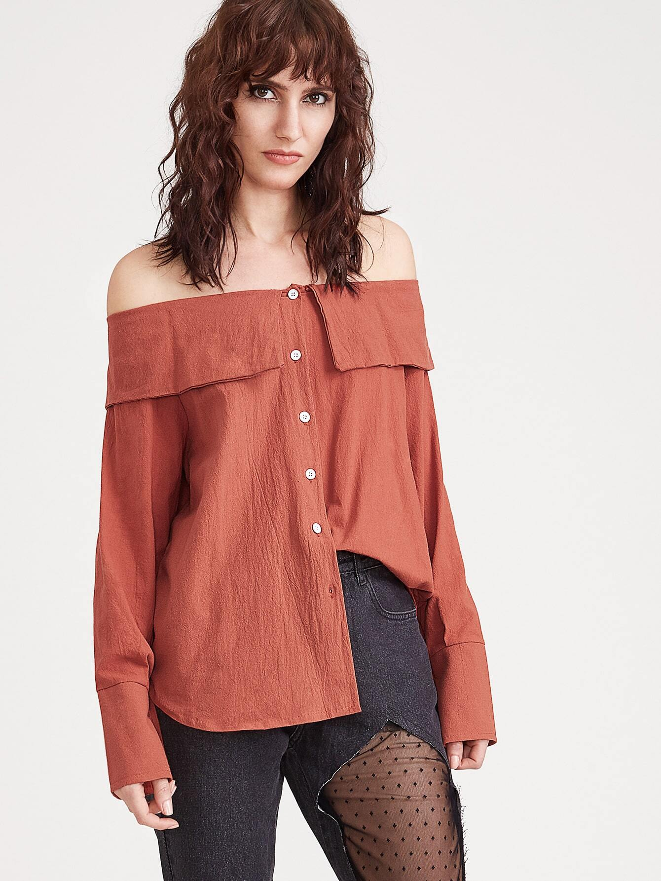 Buy Brick Red Shoulder Top