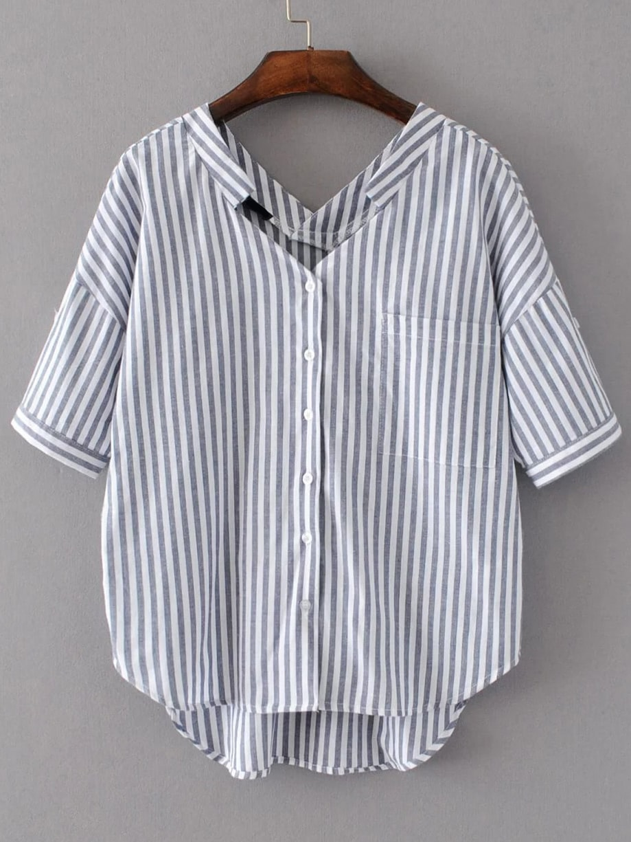 Vertical Striped Double V Neckline High Low Blouse boat neckline striped blouse with buttons